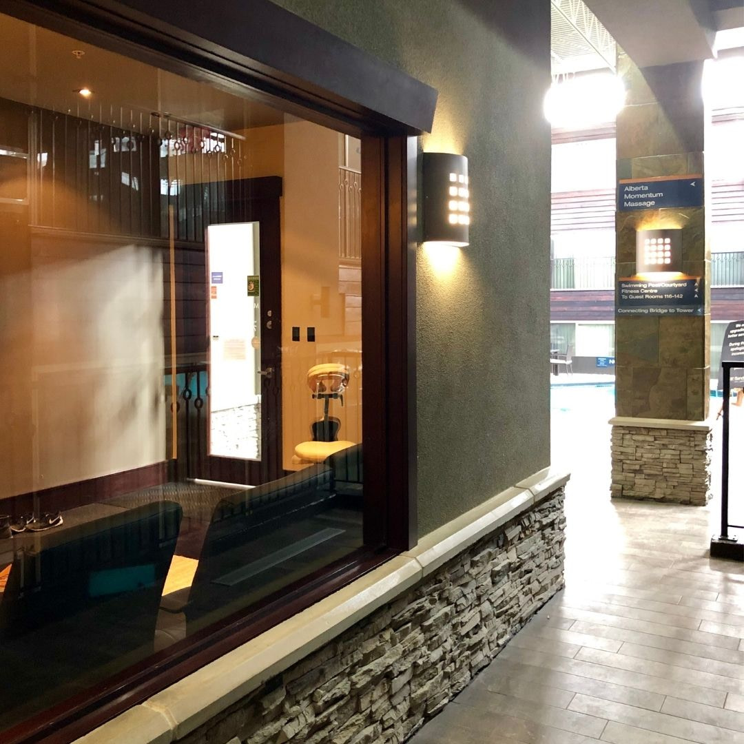 Spa Vibes! West Edmonton Massage Therapy Clinic, Located on 178 Street, Close to WEM and the Misericordia. Beautiful hallway in Sandman Hotel Leading to the Clinic